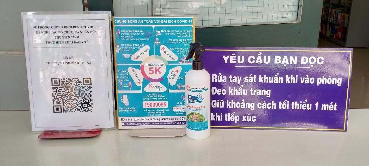 Thư viện Bình Thuận đảm bảo các biện pháp phòng, chống dịch Covid-19 trong việc phục vụ độc giả